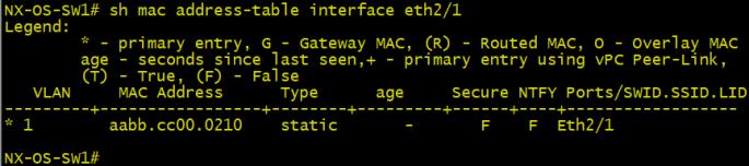 show mac address table4